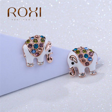 2017 ROXI Stud Earrings Cute Elephant Animal Earrings for Women White/Rose Gold Luxury Wedding Jewelry pendientes mujer moda(China)