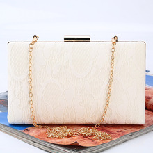 OL Style Collection Hasp Closure Clutch Handbag Hand Made Lace Bag Official Evening With Gold Chain(China)