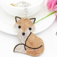 Mix Colors New Car Keychain Fox Key Chain with Crystal Inlay Pearl Rhinestone Key Chain Cool gifts Key Women