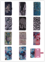 Flip PU Leather Case For Sony Xperia E4 Dual E2105 E2115 Stand Wallet Case Owl Tiger Lion Pattern Cover with Card Holder