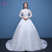 Waulizane Shiny Lustrous Satin Ball Gown Wedding Dress Appliques High Collar Brush Train Vintage Princess Bridal Gowns Hot Sale
