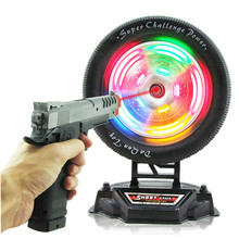 Hot Sale Kid's Outdoor Toy Plastic Electric Infrared Cap Pistol With Tyre Target Flash Music Light Toy GunTarget Turntable
