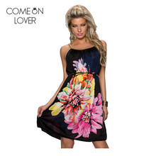 RE7971 Promotions Multi Flowers Ladies beach dress With belt 2016 new women dress fashion newest design strap summer dress(China)