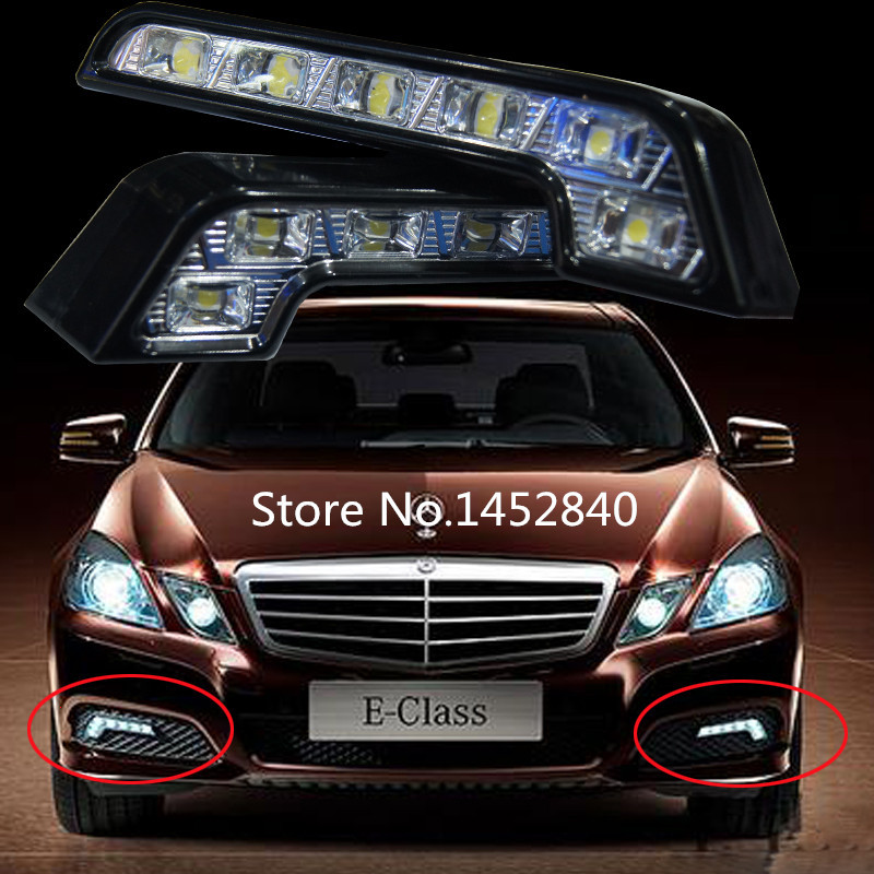 Free Shipping One Pair 8 LED L Type 4W 12V Daytime Running Light DRL Auto Car Driving Front Lamp White Bulb<br><br>Aliexpress