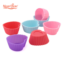 10 PCS Silicone Muffin Cases Cake Cupcake Liner Baking Mold heart shape 95031