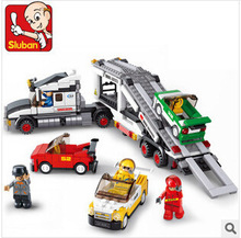 Sluban 0339 Auto Transport Truck Carrier Vehicle Set Building Brick Block Educational Childen Toy leping compatible
