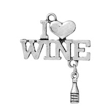 "DoreenBeads Charm Pendants Bottle Antique Silver(Can Hold ss6 Rhinestone)Heart "" WINE "" Hollow 35mm(1 3/8"")x27mm(1 1/8""),10 PCs(China)"
