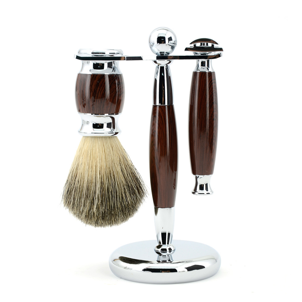 ZY Men Shaving Set Adjustable Double Edge Blade Razor Pure Badger Beard Brush Stand Holder Safety Razor Shave Kit Free 10 Blades<br>