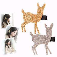 Lovely Girls Glitter Fawn Gold Silver Barrettes Hair Clips Princess Headwear Novelty Girls Hairpins Kids Festivel Gift Hairclips