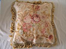 "aubusson cushion cover wool and silk sofa chair flower floral rose antique vintage45CMX45CM 18""x 18"" handmade pillow case seat(China)"