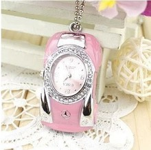 Usb Stick Jewelry USB flash drive Diamond crystal car watch USB Flash 2.0 Memory Drive Stick S90(China)