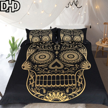 DHD Golden Skull Head Bedding Set Queen Size Bohemian Duvet Cover Set Bed Linen 3d Duvet Cover Bedclothes Bohemian Bed Cover(China)