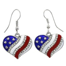 my shape Jewelry US American Flag Dangle Hook Earring Heart Rhinestone Patriotic 4th of July Independence Day Wholesale Company