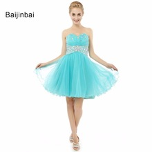 Baijinbai High Quality Real Hot Sale Beautiful Sky Blue Beading Sweetheart Ruched Strapless Cute Dress Homecoming DressesS72506(China)