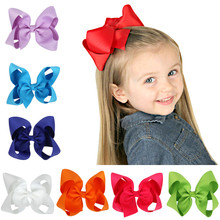Cute Grosgrain Ribbon big solid Bow hairpins Hair Clip Pin Flower Headdress Accessories Green Yellow White Black(China)