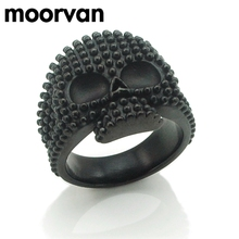Moorvan unique bike gothic hihop full bead head skull ring jewelry cool man's stainless steel 2017 new men rings gift VR026(China)