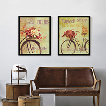 Vintage Bike Canvas Painting Flower Printed Picture Oil Painting Retro Poster Home Wall Decor for Living Room No Frame