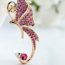 Hot Marketing Fashion  Jewelry Imitation Rhinestones Elves Butterfly Ear Clip Single ear Earrings For Women