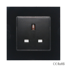 2017 Free shipping Black tempered Crystal Glass Panel, New UK Standard Socket , Wall Outlet ,Plug Socket,hot sale in RU(China)