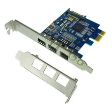 PCIE Combo 3x 1394b  Firewire Ports PCI-Express Controller Card, 1394 card TI Chipset sata power supply with low bracket profile