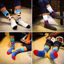 High Quality 1 Pair of Spring Summer Men Colored Striped Cotton Socks Art Jacquard Socks Hit Color Long Dot Happy Socks