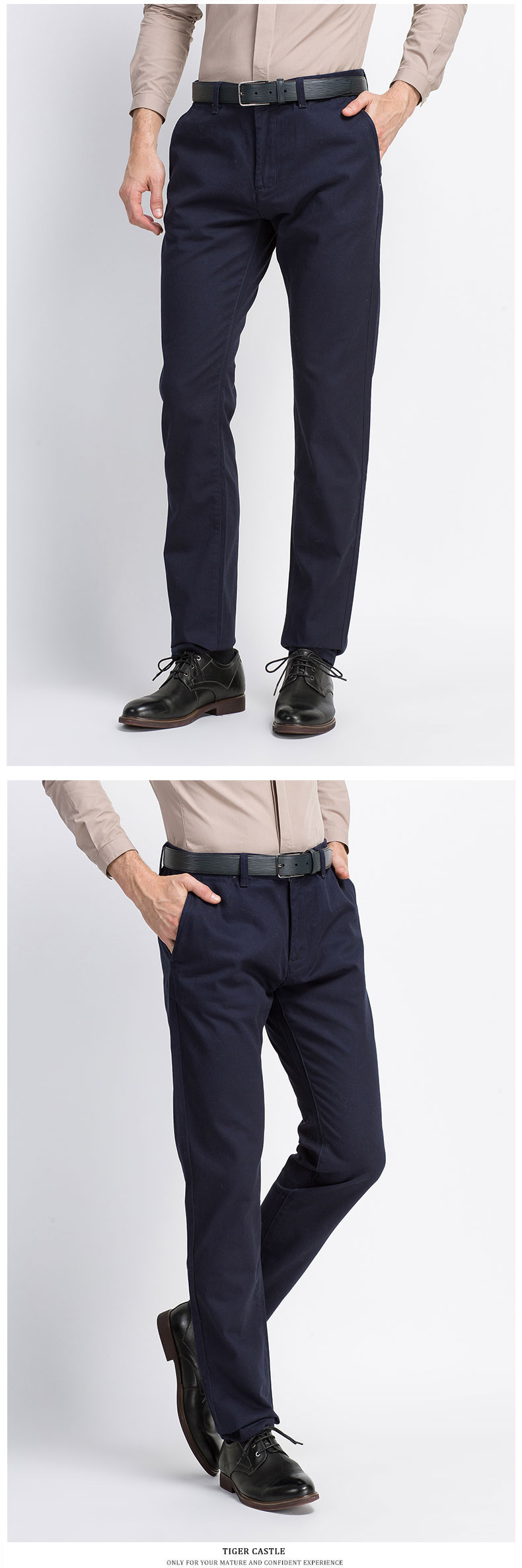 Spring Solid Mens Casual Pants Cotton Stretch Black Mens Slim Fit Long Trousers Fashion Zipper Fly High Quality Brand Clothing 16
