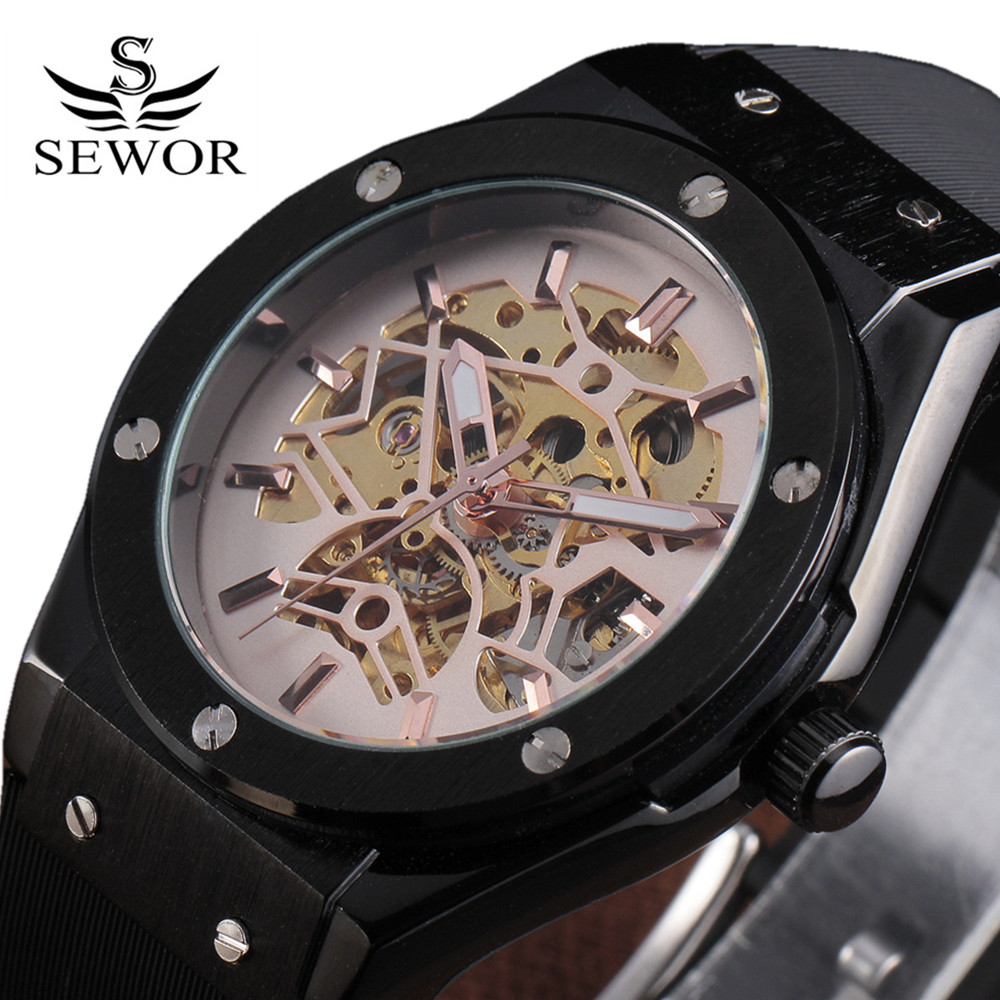 Watches Men Luxury Brand Sports Military Skeleton Wristwatches Automatic Wind Mechanical Watch Rubber Strap Relogio Masculino<br><br>Aliexpress