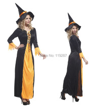 Shanghai Story new adult women Witch Halloween Costumes orange and black witch cosplay costume sexy dress