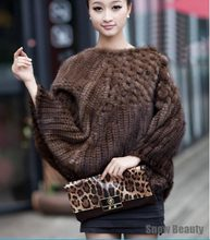 Female fashion genuine knitted mink fur ponchos wrape luxury natural mink fur shawl scarf china retail wholesale genuine fur