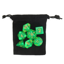 Hot 7 Pcs/Set Polyhedral Digital Dice Light Green with Bag DnD RPG D4-D20 Entertainment Christmas Gifts for TRPG Game Lovers(China)