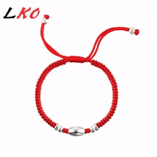 Buy LKO new fashion S925 Sterling Silver Lucky Red Rope Bracelet man&women gift personality Lovely bracelet free for $6.60 in AliExpress store