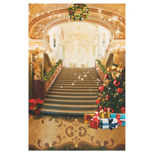 7X5ft Photo Backdrops Theme Photography Background Props For Studio: Christmas Stairs(China)