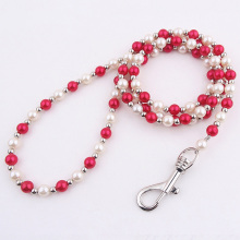 4ft Luxury Beaded Pearl Puppy Dog Leash Pet Cat Chain Leads Leshes for Small Medium Dogs Accessories Jewel Collection-White Red