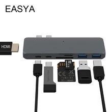 EASY USB Type-C Hub to HDMI Adapter USB C Hub Dock with PD TF SD Card Reader for New MacBook Pro 2017 USB 3.0 Hub Gray(China)