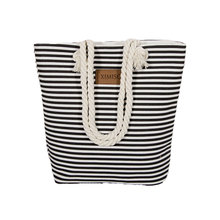 Girl Casual Summer Canvas Shopper Shoulder Bag Striped Beach Bags Large Capacity Tote Women Ladies Casual Shopping Handbag Bolsa