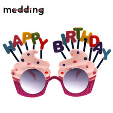 MEIDDING Colorful Happy Birthday Ice Cream Candle PC Sunglasses for Kid Birthday Party Decor Glasses for Event Party Supplies