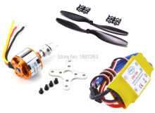 A2212 1000KV Brushless Outrunner Motor +30A ESC+Black 2 Pairs 1045 Propeller Quad-Rotor Set for RC Aircraft Multicopter