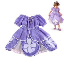 Cute Fancy Dress Baby Girls Kids Clothes Cartoon Sofia Purple Pageant Princess Party Costume Dress Clothing(China)