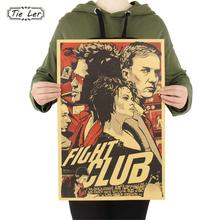 TIE LER Fight Club Kraft Paper Poster Movie Vintage Paper Poster Retro Art Wall Decoration Wall Sticker 51.5X35 CM(China)