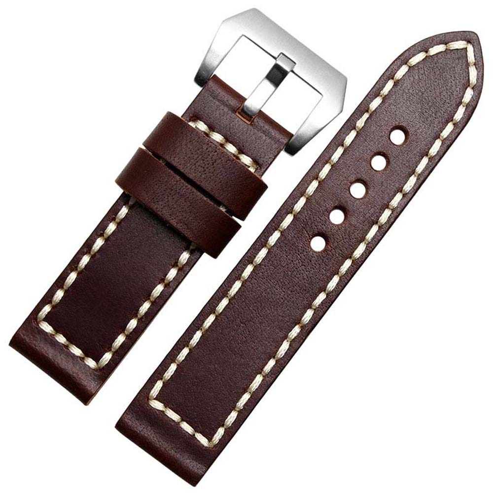NESUN Free Shipping 24 mm Calfskin Leather Brown Watch Band For Men And Womens watches  Wholesale and Retailer<br>