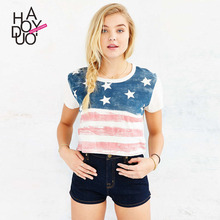 Buy Womens Tops 2017 Plus Size Womens Clothing T-Shirts Korean Clothes flag printed U.S. T-Shirt Das Mulheres Camiseta for $17.00 in AliExpress store