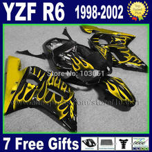 custom moto flame fairing for YAMAHA YZFR6 1998 1999 2000 2001 2002 YZF600 02 00 01 99 98 YZF R6  bodywork repair fairings kit