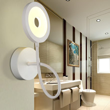New Modern White Flexible Hose LED Wall Lamp Flexible Arm Light Lamp Bedside Bathroom Painting Wall Lighting