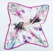 55X55CM Fashion Square Floral Silk Handkerchief 100% Silk Scarf Gifts Small Square Silk scarves for girls