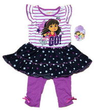 , wholesale 6sets/lot 2-4yrs Baby Girl's Dora Dress and Legging Set,Dora  dress and pants two pieces sets