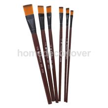 6 x Brown Goat Hair Brush Set for Watercolor,Acrylic,Tempera,Oil Painting(China)