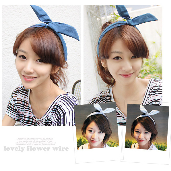 Korean hair jewelry rabbit ears headband cowboy paragraph Korean bow hair bandwidth, free home delivery<br><br>Aliexpress