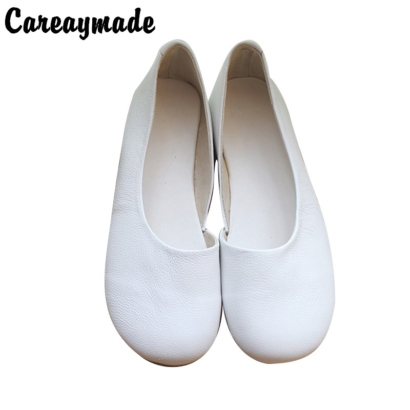 Careaymade-New 2017 Literary retro pure handmade shoes Genuine Leather asymmetry shallow mouth documentary female white shoes<br>