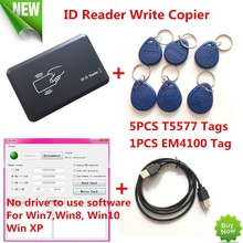 125KHZ RFID ID Card Reader Writer Copier Duplicater For Access Control+5 PCS EM4305/T5557 Tags+ DEMO Nodriver Software(China)