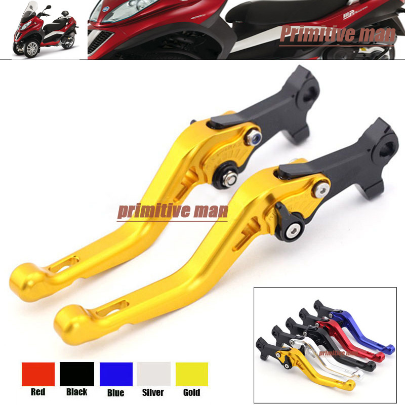 For GILERA/PIAGGIO Beverly 125/250/400 rst/tourer/eu3 Aluminum Adjustable Short Left Right Brake Levers Gold<br>